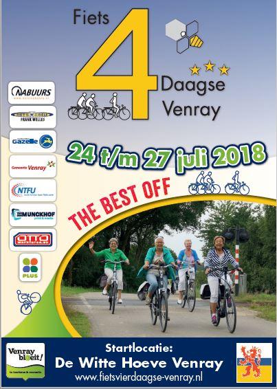De voorinschrijving voor de 34ste Fietsvierdaagse Venray is geopend.