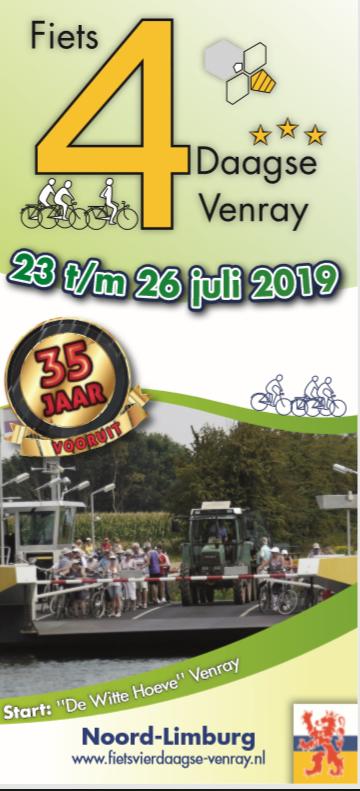 De voorinschrijving voor de 35ste Fietsvierdaagse Venray is geopend.
